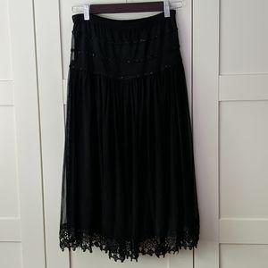 ❄️ 3/$25 Black Flowy Double Layered Midi Skirt
